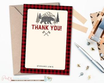 Woodland Thank You Card, Woodland Baby Shower Thank You Card, Woodland Thank You, Buffalo Plaid Thank you Card, Bear Thank You Card