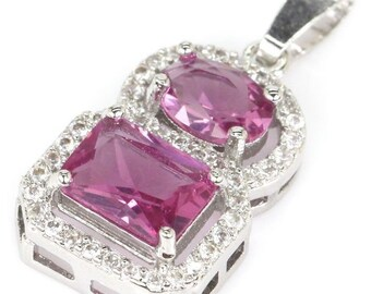 Sterling Silver Pink Tourmaline Gemstone Petite Pendant With AAA CZ Accents