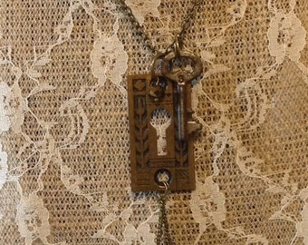Brass Keyhole Escutcheon and Antique Key Necklace. One-Of-A-Kind