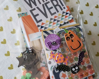 Paper Craft Inspiration Kit - Simple Stories - Stickers - Project Life - Flowers - Halloween - WHATEVER