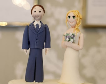 Bespoke naive styled sugar bride and groom topper for wedding cake.  Handmade from sugar to resemble the bride and groom who order it.