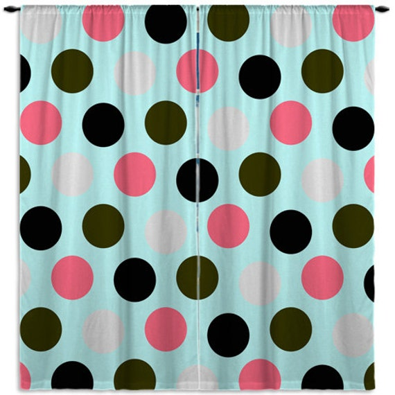 Mint - Green - Pink Window Curtain, Turquoise Kids Curtains, Modern, Girls Curtain Panel, Bathroom Curtain, Custom Size, ANY COLOR #121