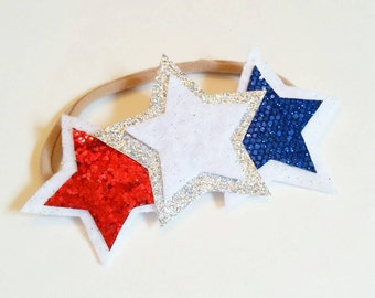 4th of July Headband - Glitter Star Headband - 4th Of July Accessories - Glitter Headband - Star Headband - Summer Headband