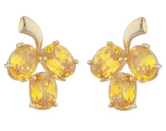 14Kt Yellow Gold Plated Yellow Citrine Oval Shape Design Stud Earrings
