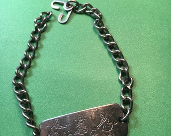 Girls Bracelet, Silver tone/Engraved/7 1/2 long, 12 x36mm/Great Condition<>#BCEB-647