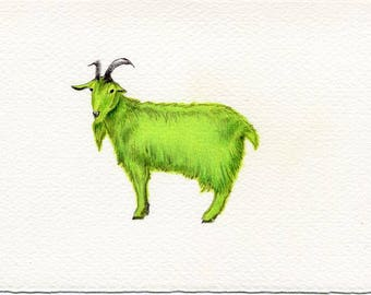 Green Goat:  One of a kind original drawing