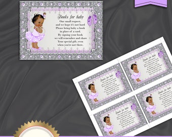Book Request Card, Baby Shower Book Request, Bring A Book Instead Of A Card, Ballerina Baby Shower, Baby Girl - Instant Download, BSBL01