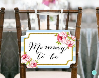 Baby Blue Gold Mommy to be Chair Banner, Baby Shower Decorations, Baby Shower Chair Banner, Mommy Sign, Printable Chair Sign TLC50B