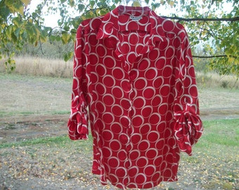 Retro 90s BLOUSEY BRIGHT RED & White Circles Satin Blouse, 3 Quarter Sleeves, Ex Lg