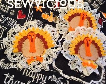 Sew Vicious Handmade Turkey Hair Clips Fall Yall