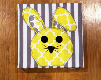 Lop-Eared Bunny - Gray & Yellow - Nursery Wall Art - Toddler Room Wall Art - Fabric Canvas Print