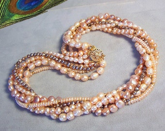 Freshwater Pearl Torsade Necklace ~ Six-Strand Peach and Mauve FWP Twist Necklace ~ Multi-strand Bridal Wedding Pearls ~ 14Kt Gold Filled