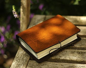 A6, Standard, Classic Leather Bound Journal, Brown Leather Journal, Travel Journal, Blank Book, Leather Notebook, Personalised Journal.