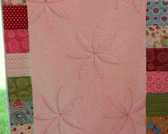 Paisley Baby Girl Quilt, Pink and Red, Baby Quilt, Green and Yellow