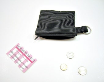 Black and White Striped Zipper Pouch