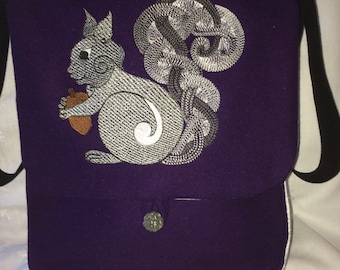 Celtic Knotwork Squirrel Haversack  - wool and silk