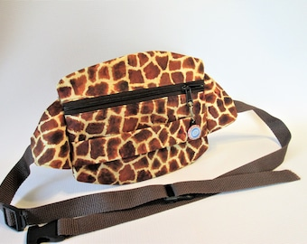 Animal Print Fanny Pack, Giraffe Print Fanny Pack, Custom Fanny Pack, Brown Fanny Pack, Hip Bag, Waist Bag, Travel Fanny Pack,
