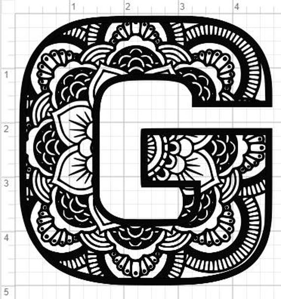 Mandala Alphabet Letter G Design SVG PDF Eps Dxf Studio 3 Cut Files From TimestormSVG On Etsy