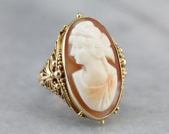 Vintage Cameo Gold Filigree Statement Ring X7QMH4C0-P