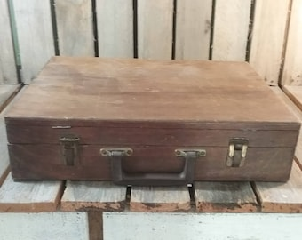 Vintage Wooden Artist Box Filled With Tools, Supplies And A Canvus, Wooden Art Box, Art Supply Box, Traveling Artist Box, Vintage Art
