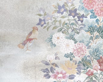 Japanese SILK OBI Sash Panel - Birds' Paradise  (Sample)