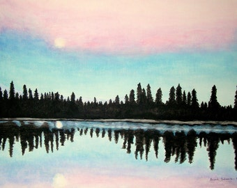 Sunrise Moonlight Reflection Acrylic Painting Canvas Woodland Landscape Lake Landscape Dawn Contemporary Moon Sky Trees Water