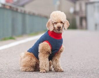 Dark blue-Red dog sweatshirt, Dogs in dots, Dog Hoodie, dog clothes, Dog Sweater, Custom Dog Hoodie, Dog Jacket, Dog Coat Active