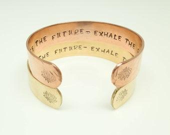 Mantra Bracelet, Inspirational Bracelet, Hand Stamped Message Bracelet, Quote Jewelry, Custom Cuff Bracelet, Lotus Flower Jewelry, Exhale