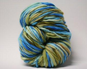 Hand spun Merino Wool Thick and Thin Yarn Slub  Hand Dyed tts(tm) Merino Bulky Self Striping xxLRH 1601x Half-pounder