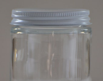 4 oz Glass Jar. Wholesale. 4 pack. Made in USA. Recycled Clear Glass with White Lid. Craft Supply. Storage. Hot Cold Fill. Free Shipping.