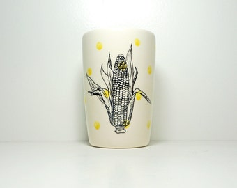 18oz tumbler or vase with an Ear of Corn print shown here on Yellow Polkadots, Made to Order