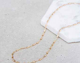 Tube & Link Choker Necklace / minimal dainty gold chain layering choker / 14k gold fill