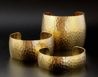 Domed and Hammered Bangle Cuff Bases in Rich Low Brass - 4 Sizes to Choose From 18.75mm - 50mm