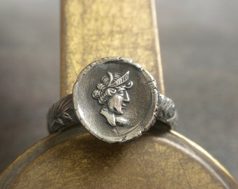 Greek Mythology Jewelry Coin Silver Ring
