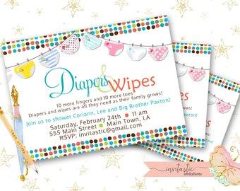 Diaper Baby Shower Invitation - Diaper and Wipe Gender neutral Shower Invite- Custom Baby Shower invitation- diaper shower invite