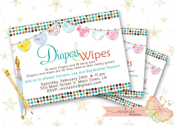 Diaper baby shower invitation diaper and wipe gender neutral like this item filmwisefo Images