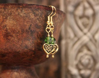 Gold Celtic Heart Bead and Swarovski Crystal Earrings