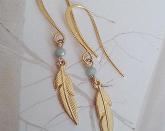 Feather earrings, Gold feather earrings, Dangle feather earrings, Gold dangle earrings, Feather with stone earrings