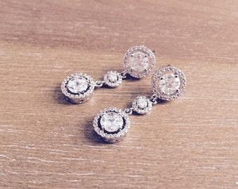 Cubic Zirconia Bridal Earrings, Bridal Drop Earrings
