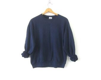 Baggy Navy Blue sweatshirt slouchy sweater Basic Casual Sweater Plain shirt ATHLETICS Sports Sporty Top Women's Size XL