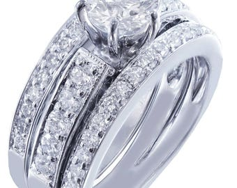 14k round cut diamond engagement ring and band antique deco style Bridal Wedding Anniversary Halo Natural Diamonds 1.50ct