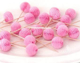 Golden Kraft Color Honeycomb Ball Picks - Cupcake topper Tissue Paper