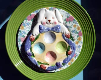 Springtime Yard Decor Bunny Plate Flower, Close Out Sale