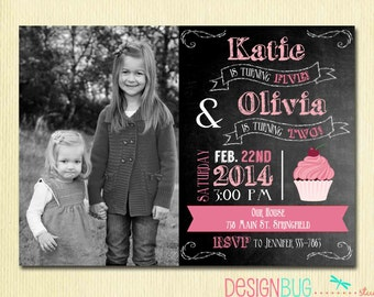 Custom invitations holiday cards and more by designbugstudio joint birthday chalkboard invitation twins birthday sisters dual invitation same or different age stopboris Choice Image