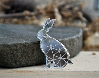 Rabbit pin brooch - mirror rabbit brooch, mirror silver hear brooch, mirror rabbit brooch, geometric hear pin brooch - made to order