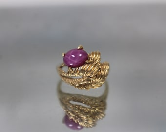 14k - Vintage Pink Star Sapphire Feather Ring in Yellow Gold