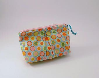 Citrus Dots Zippered Pleated Pouch Cotton Fabric Travel Pouch Polka Dot Pouch Bubblegum Pink