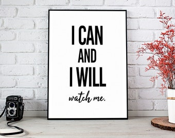 I Can I Will,Motivational Quote,Inspirational,Instant Download,Printable Wall Art,Printable Art,Motivational,Wall Art,Inspirational Print