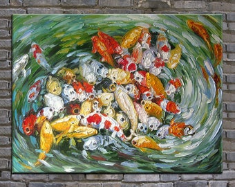 original painting,hand oil painting,impasto,  huge size palette knife painting koi fish-OR460