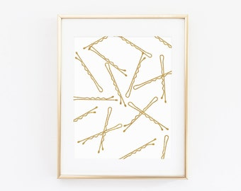 Glitter and Gold Bobby Pin Print, Bobby Pin Sketch, Bathroom Print, Decorative Print, Gold Instant Download